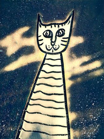 doodle of contented happy cat transformed into unique art by application of digital processes 版權商用圖片