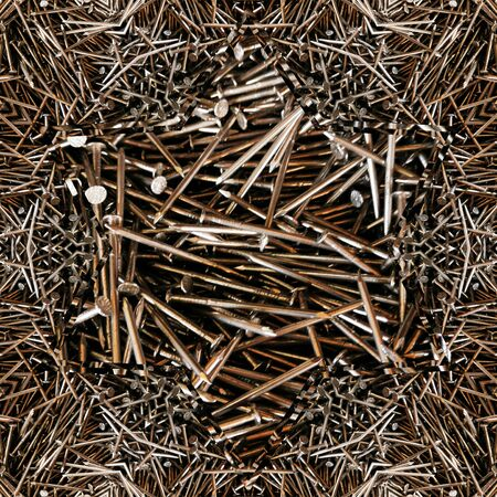 intricate abstract artistic patterns and design from many shiny steel new carpenter's DIY nails