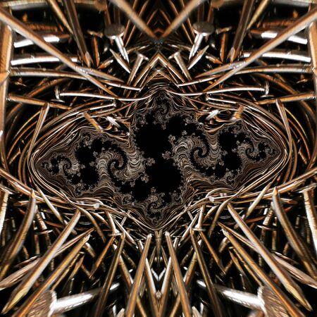 abstract fractal artistic patterns and design from many shiny steel new carpenter's DIY nails
