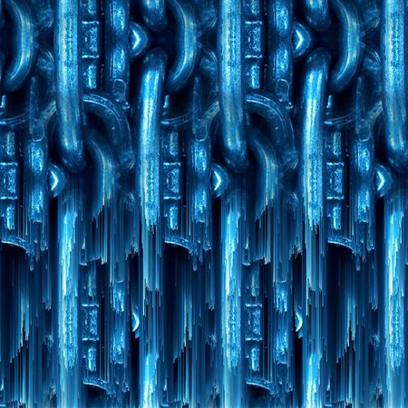 shades of blue abstract melting pattern and design of a huge steel links of industrial chain transformed into unique art