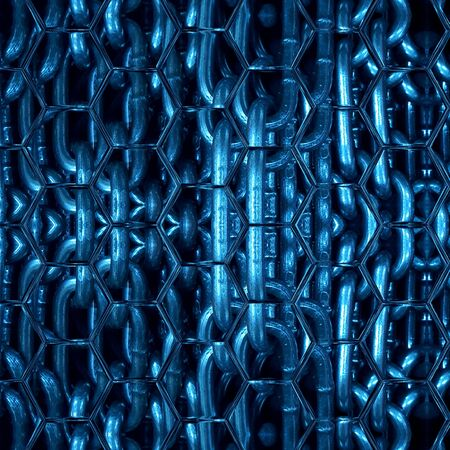 shades of blue abstract hexagonal pattern and design of a huge steel links of industrial chain transformed into unique art