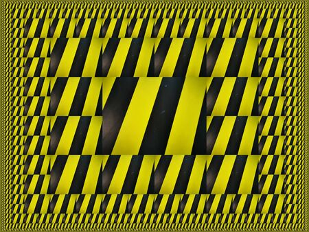 magic carpet repeated scaling generates intricate variations through design all based on multiple black diagonal on a vibrant yellow chevron