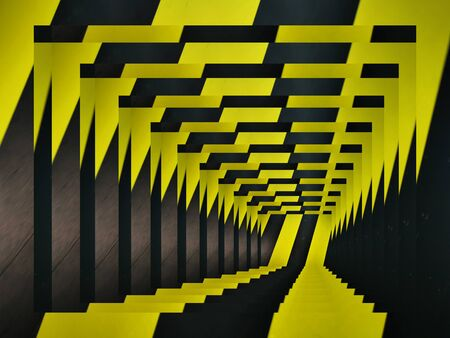 intricate variations through perspective all based on multiple black diagonal on a vibrant yellow chevron Archivio Fotografico
