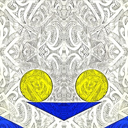 symmetric bright blue foundation with a single vivid yellow ball on a slightly textured white background Banque d'images