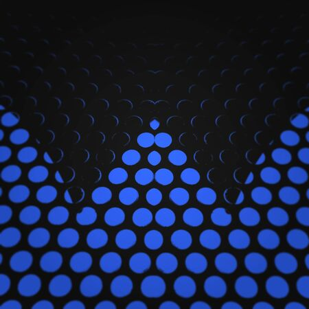 perforated metal plate with Royal blue light making minimalist patters shapes and designs