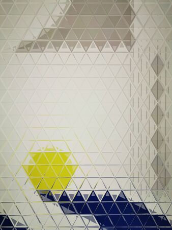 bright blue foundation with a single vivid yellow ball on a white background making intricate triangular mosaic patterns and designs