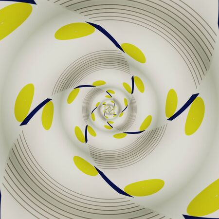 bright blue foundation with a single vivid yellow ball on a white background making intricate spiral patterns and designs