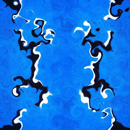 turbulence from two pronged fork design in black and white against a vivid royal blue a textured wall transformed into intricate patterns by reflection and twisting