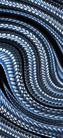 many stainless steel braided flex-hose pieces as abstract patterns and designs in blue light