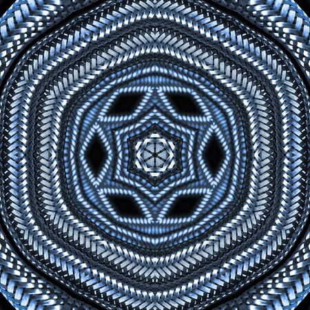 radial design from many stainless steel braided flex-hose pieces as abstract patterns in blue light