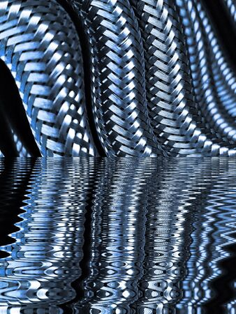 many stainless steel braided flex-hose pieces as water reflection patterns and designs in blue light