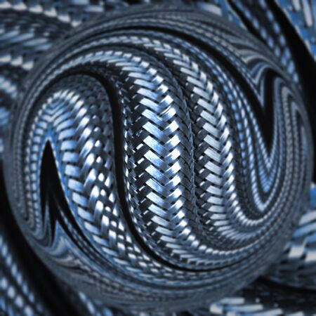 many stainless steel braided flex-hose pieces as abstract patterns and designs in blue light with glass globe Archivio Fotografico