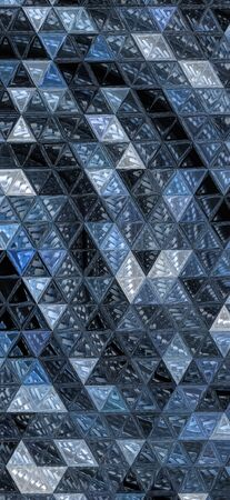 mosaic triangular tile view of many stainless steel braided flex-hose pieces as abstract patterns and designs in blue light