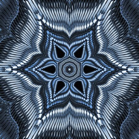 floral radial view from many stainless steel braided flex-hose pieces as abstract patterns and designs in blue light