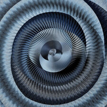 curved view of many stainless steel braided flex-hose pieces as abstract patterns and designs in blue light