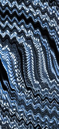 wavy ripples from many stainless steel braided flex-hose pieces as abstract patterns and designs in blue light