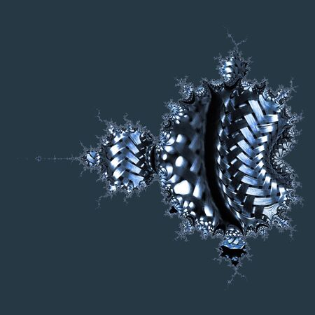 Mandelbrot Fractal construction of many stainless steel braided flex-hose pieces as abstract patterns and designs in blue light