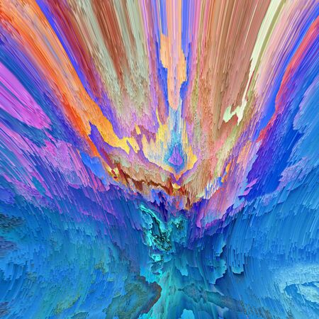abstract of pealing paint in shades of blue flaky wall surface with pink purple and turquoise colors Stock Photo
