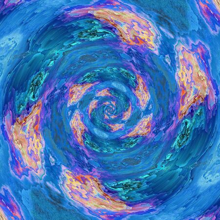 abstract of pealing paint in shades of blue flaky wall surface with pink purple and turquoise colors spiral designs