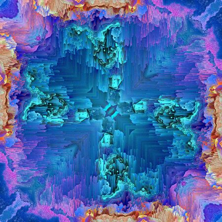abstract of pealing paint in shades of blue flaky wall surface with pink purple and turquoise colors and square format symmetric designs