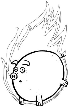 boor: outline illustration of a flying pig in a ball of flames.