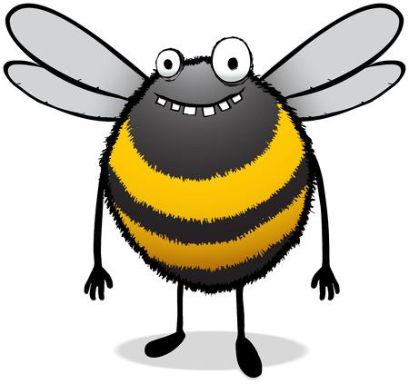 Illustration einer glücklichen und etwas stummen aussehenden Biene.