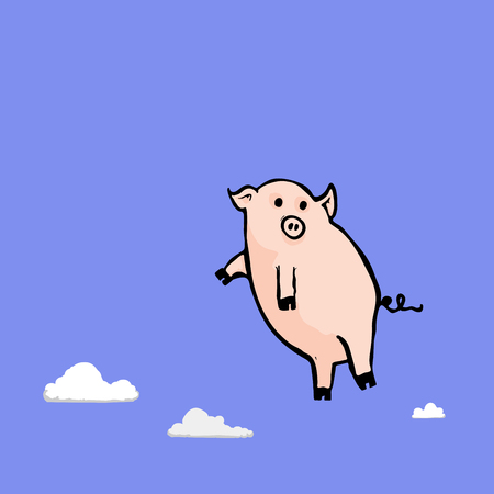 Illustration of a flying pig full of more lies and even more deceit in the clouds. Illustration