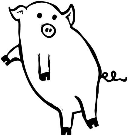 Outline illustration of a flying pig full of more lies and even more deceit. Illustration