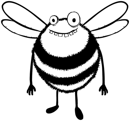 Illustration d'une abeille heureuse et un peu stupide.