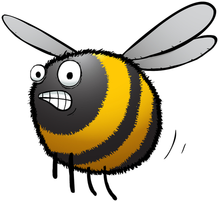 Illustration of a stessed looking bumble bee.