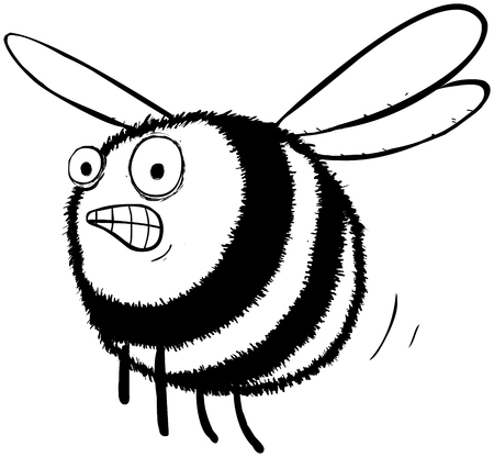 Outline illustration of a stessed looking bumble bee.
