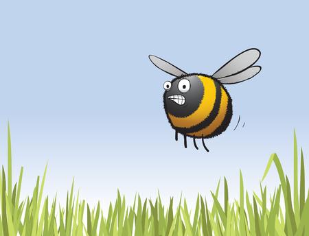 Illustration d'une abeille inquiète se dépêchant de travailler après avoir dormi à nouveau.