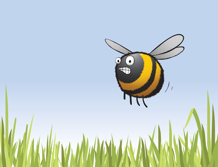 Illustration of a worried bee hurrying to work having slept in again. Illustration