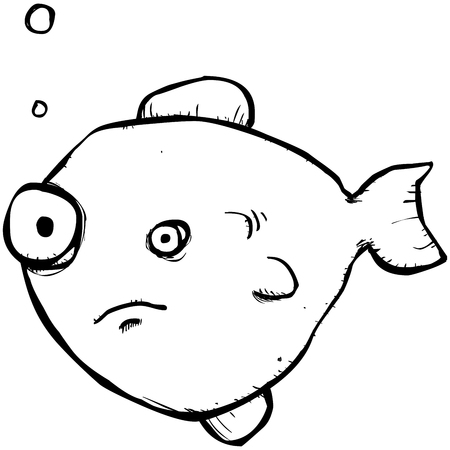 Illustration of a somewhat flat looking stinky goldfish
