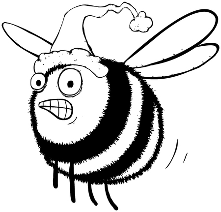 Outline illustration of busy bee rushing to find christmas presents for the hive.