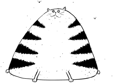 Outline Illustration of Eggy the fat cat looking... well... quite fat and puzzled. Stock Vector - 111523308