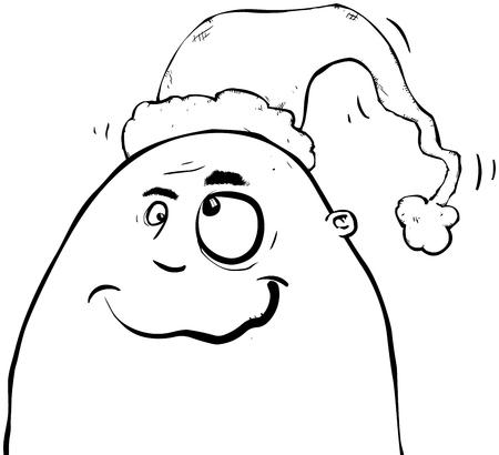Outline illustration of a crazy man with a Christmas hat. Illusztráció