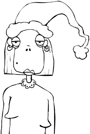 Outline illustration of a very bored looking woman at Christmas