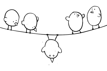 Outline illustration of an unlucky bird at the centre of the attention of his friends.