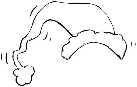 Outline illustration of a Santa hat. 1001 uses.