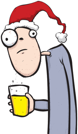 Illustration of a festive guy holding a pind of lovely beer.