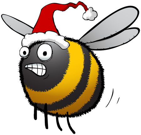 Illustration of busy bee rushing to find christmas presents for the hive. Illusztráció