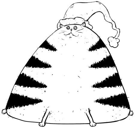 Outline illustration of a cat looking forward to christmas. Illustration