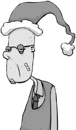 Illustration of a very bored looking man at Christmas Illusztráció