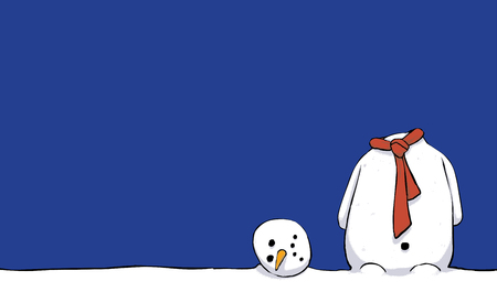 Illustration of an unhappy beheaded winter snowman on a blue background