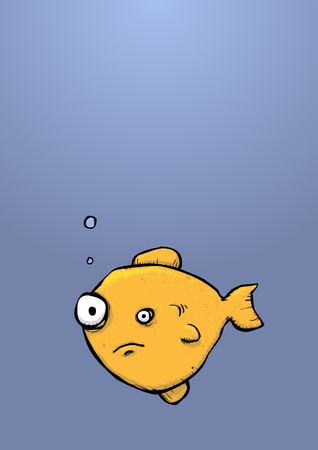Illustration of a goldfish type fish in the sea