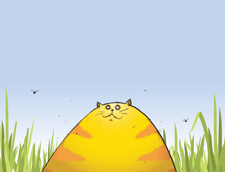 Illustration of Eggy the fat cat catching some rays in the garden.