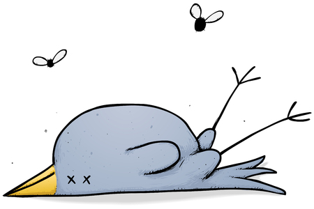 Illustration of an unlucky bird attracting some insect interest.