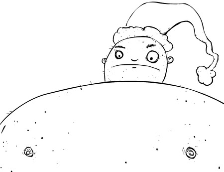 Outline illustration of an unhappy full page fat bloke wearing a christmas hat.
