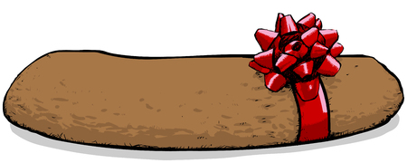 Illustration of a gift wrapped christmas poo
